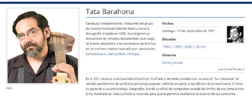 Biografía de Tata Barahona en MusicaPopular.cl